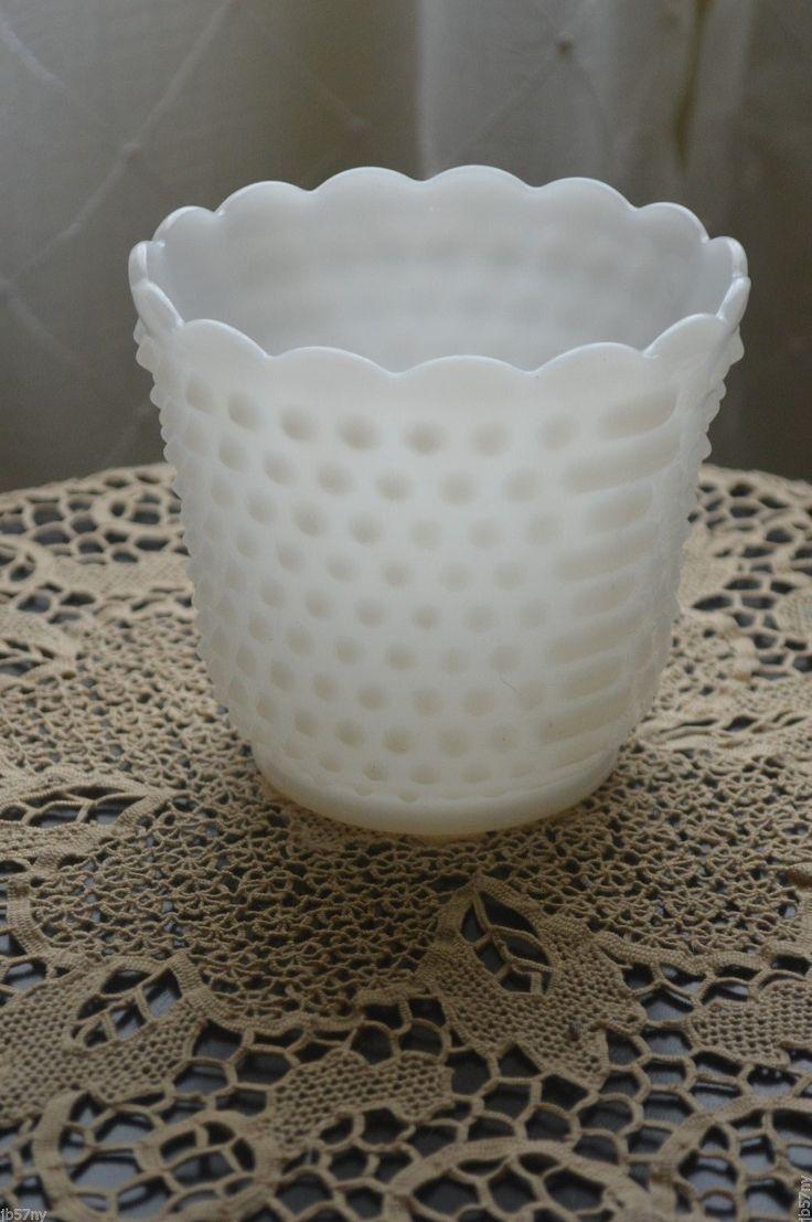 137 best milk glass images on pinterest vintage estate find fire king ovenware hobnail milk glass dimpled vase 1950s ebay reviewsmspy