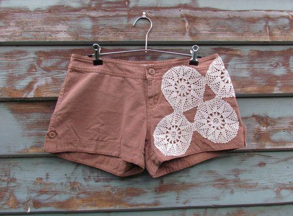 Upcycled Vintage Crochet Doily Shorts Size 10 eco by doilydreaming