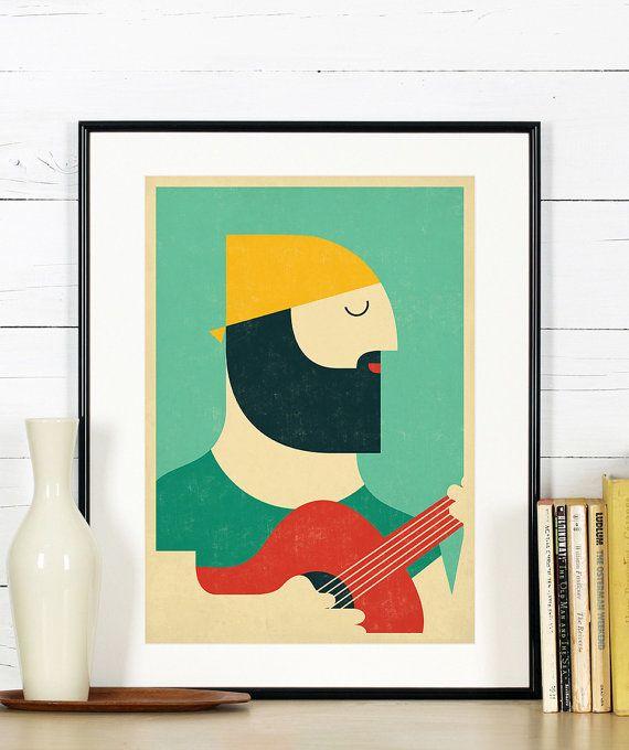 Affiches rétro, guitariste, guitariste, musique, musicien, homme, barbe, impression couleurs scandinave minimaliste grunge, vintageart art imprimé