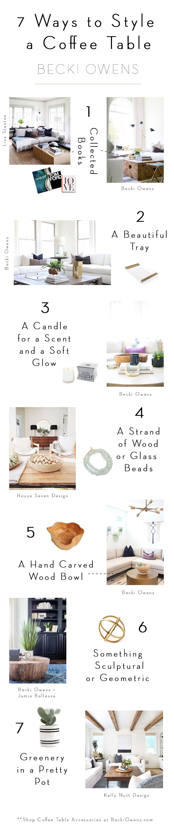 7 Ways to Style a Coffee TableBECKI OWENS-Restyling your coffee table is an easy way to refresh your living room. Here are 7 ways to style your table with a curated collection of things you love.