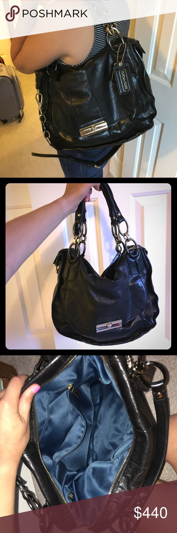 COACH- Kristin Sage 100% leather bag Beautiful medium/large Coach bag. 100% leather; and 100% authentic in excellent condition!! Price is negotiable Coach Bags Shoulder Bags