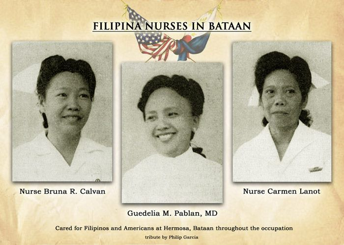 Three Filipina Angels/ Heroines of Bataan. Two are nurses, and one is a doctor. #NursingHistory #MedicalHistory #WWII