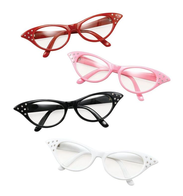 1950s 50s GLASSES PINK RED WHITE BLACK GREASE MISS MONEYPENNY LADIES FANCY DRESS