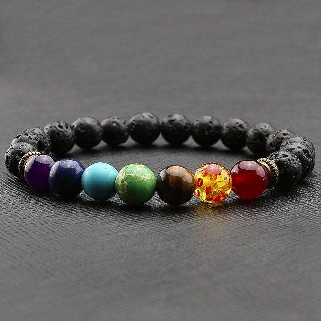 Healing 7 Chakras Obsidian Volcanic Stone Energy Bracelet
