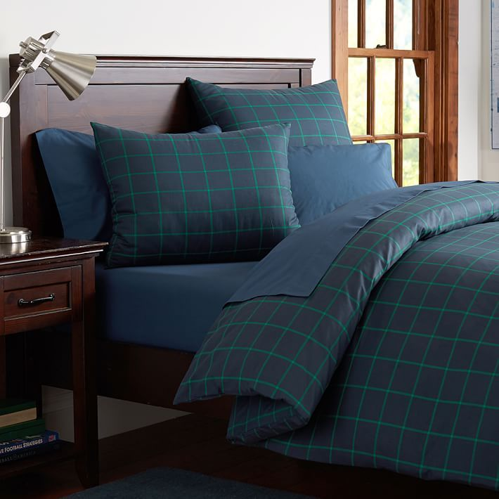 Boxter Plaid Duvet Cover, Twin, Navy/Bright Green