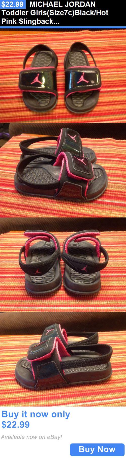 Michael Jordan Baby Clothing: Michael Jordan Toddler Girls(Size7c)Black/Hot Pink Slingback/Velcro Sandalseuc BUY IT NOW ONLY: $22.99