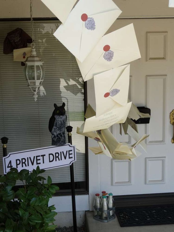 Loving the acceptance letters decoration at this Harry Potters Birthday Party! See more party ideas at CatchMyParty.com