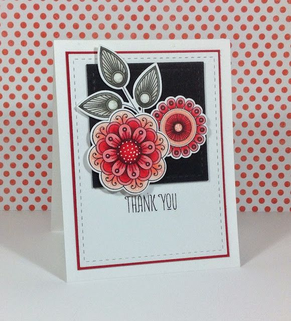 Beth's Little Card Blog: Red floral thank you card