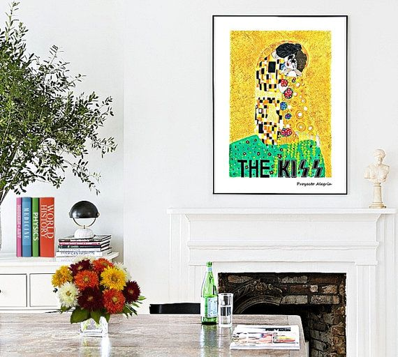 A4 KISS Print Klimt + Kiss band Poster for Rockmantics Valentines git Love Print gift for boyfriend anniversary gift for couples wall art