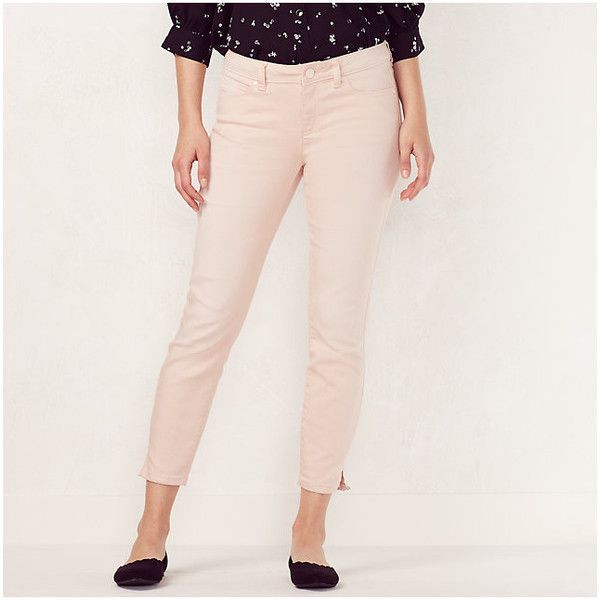 Women's LC Lauren Conrad Colored Skinny Capri Jeans ($20) ❤ liked on Polyvore featuring jeans, lt orange, skinny jeans, stretch jeans, stretch skinny jeans, skinny fit jeans and skinny capris