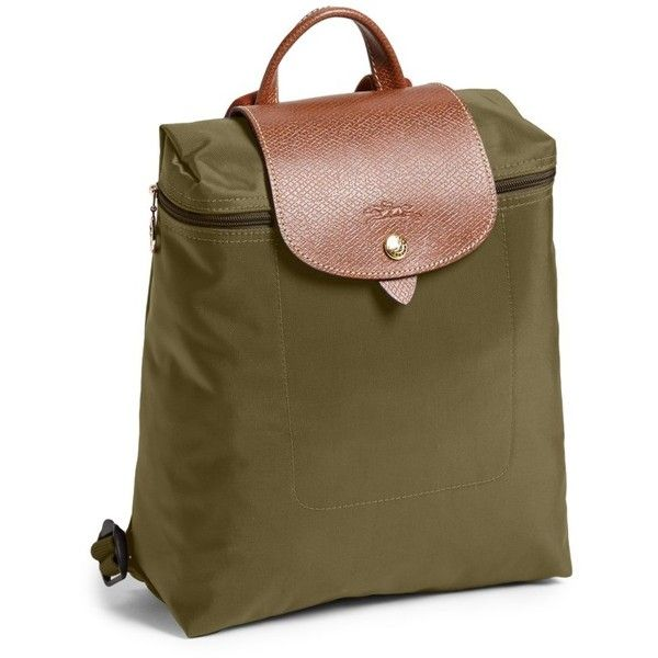 Women's Longchamp 'Le Pliage' Backpack (£100) ❤ liked on Polyvore featuring bags, backpacks, new khaki, khaki backpack, longchamp rucksack, longchamp backpack, rucksack bags and knapsack bag