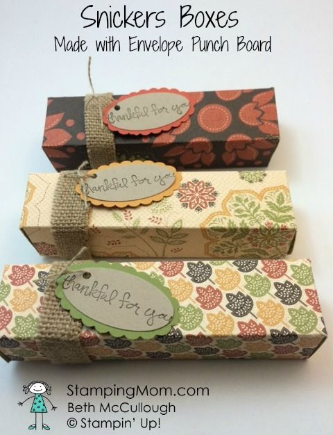 Stampin' Up Snickers Box made with Envelope Punch Board designed by demo Beth McCullough. Please see more card and gift ideas at www.StampingMom.com #StampingMom