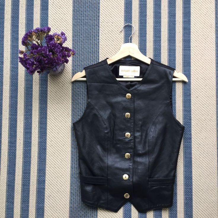 VTG LEATHER Margaret Godfrey Black Vest Gold Buttons Small Harley Motorcycle #MargaretGodfrey #Motorcycle