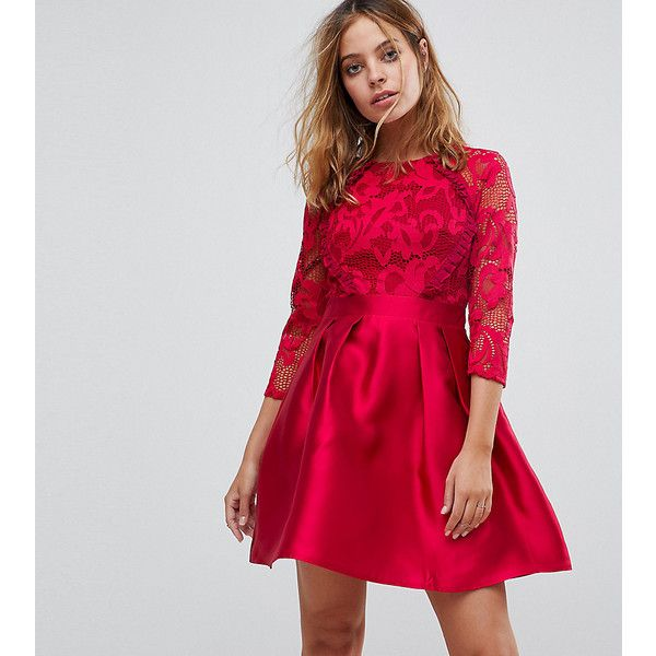 Little Mistress Petite 3/4 Sleeve Satin Skater Dress With Lace Upper ($82) ❤ liked on Polyvore featuring dresses, petite, red, red satin dress, maxi dresses, red prom dresses, red lace dresses and petite cocktail dress