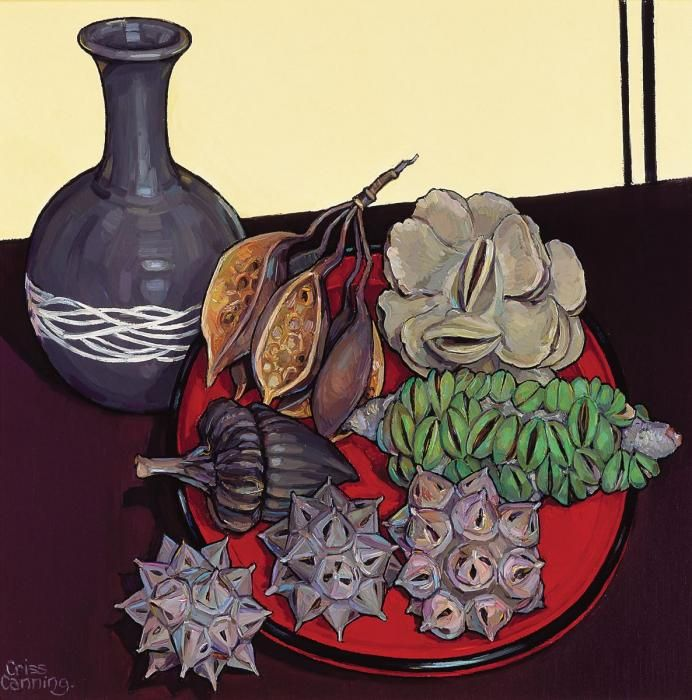 Criss Canning (b.1947) — Seed Pods on a Red Tray (692x700)
