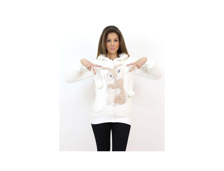 Hanorac Pufos cu Imprimeu Iepuraș - Pulovere și Cardigane - Famevogue  #hanorac #haine #imbracaminte #moda #style #sweater #trends