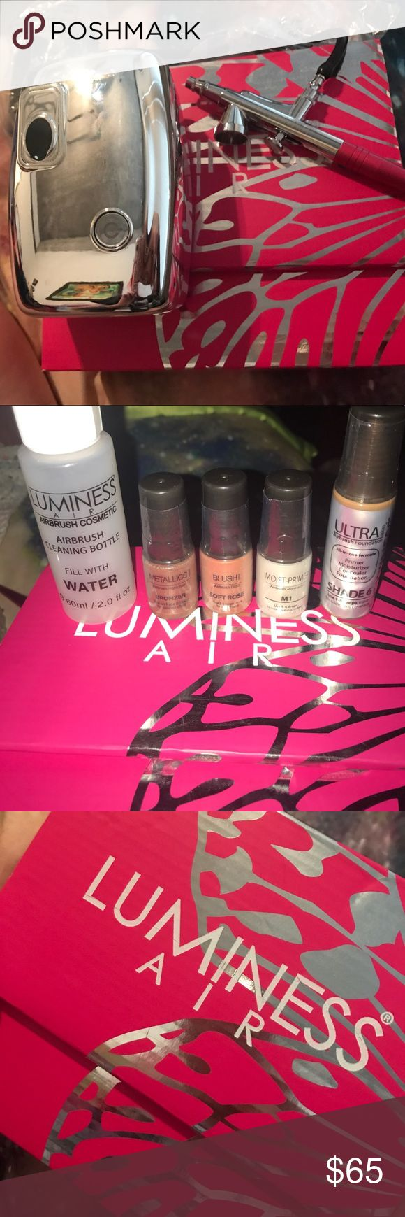 Luminess Air Brush for makeup. BRAND: Luminess Air COLOR: pink CONDITION: new. Make up air brush that has never been used. Includes: DVD, manual, air brush cleaning bottle. Bronzer, blush, moist-primer, and foundation in shade 6. Luminess Air Makeup Foundation