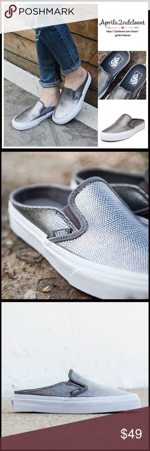 """VANS Sneakers Slip Ons Flats VANS Sneakers Slip Ons Flats NEW WITH TAGS RETAIL PRICE: $60   * Slip-on style & round toe, mule silhouette  * Dual goring at inset  * Genuine leather  * Logo detail  * Non-marking low ballet flat 1"""" rubber soles  * Runs small, order 1/2 size up   Fabric:Genuine leather & textile upper, rubber sole  Color: Grey, True white leatherItem: flatform No Trades ✅ Offers Considered*✅ *Please use the blue 'offer' button to submit an offer. Vans Shoes Sneakers"""