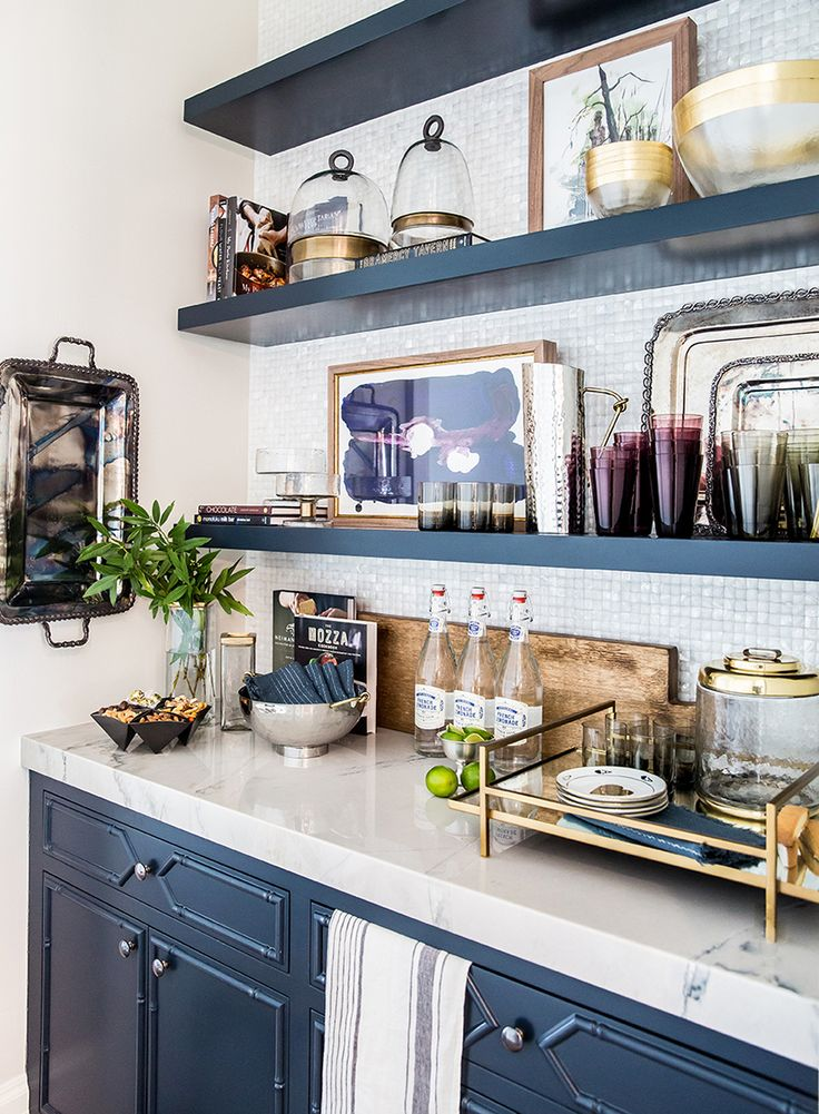 Ivory Lane Kitchen Reveal: Butlers Pantry, navy blue cabinets
