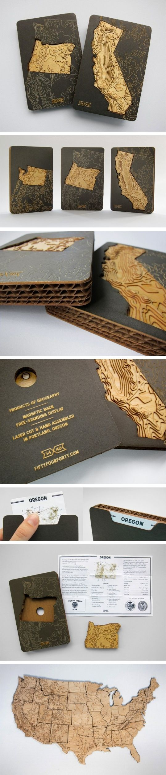 "Designed by the Bureau of Betterment | Country: Denmark ""The 54-40 packaging project was a collaboration between two sole proprietors: Mette Hornung Rankin of the Bureau of Betterment and Greg Jones of Fifty-Four Forty. Greg had the idea to create a set of magnetic-backed US states made out of laser cut wood that show the topography of America."