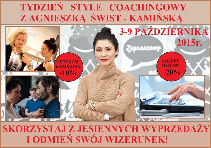 """Ogłaszamy tydzień style coachingowy z Agnieszką Świst-Kamińską!  Wybierz się na zakupy do centrum handlowego """"Klif"""" w Gdyni lub do """"Złotych Tarasów"""" w Warszawie - otrzymasz 10% zniżki*. Możesz też zlecić style coachowi zakupy internetowe - otrzymasz 20% zniżki*.  Skorzystaj z atrakcyjnych jesiennych wyprzedaży i odmień swój wizerunek! Zapisy: ask@agnieszka-kaminska.com .* Szkoła Męskiego Stylu nie daje zniżki na zakupy, lecz oferuje zniżkę na usługi style coachingowe."""