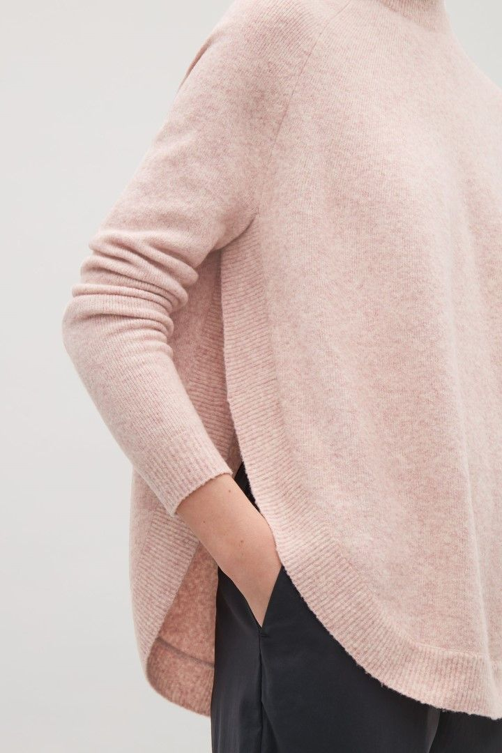 COS image 1 of Round-hem wool jumper in Pink