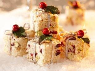 Christmas would just not be Christmas without White Christmas crackles:  this time with a different spin - Pistachios, dried cranberries and white chocolate make these bite-sized morsels deliciously crunchy.