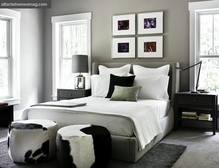 Atlanta Homes & Lifestyles: Room & Board Design Team - Modern bedroom design with gray walls paint color, wingback ...