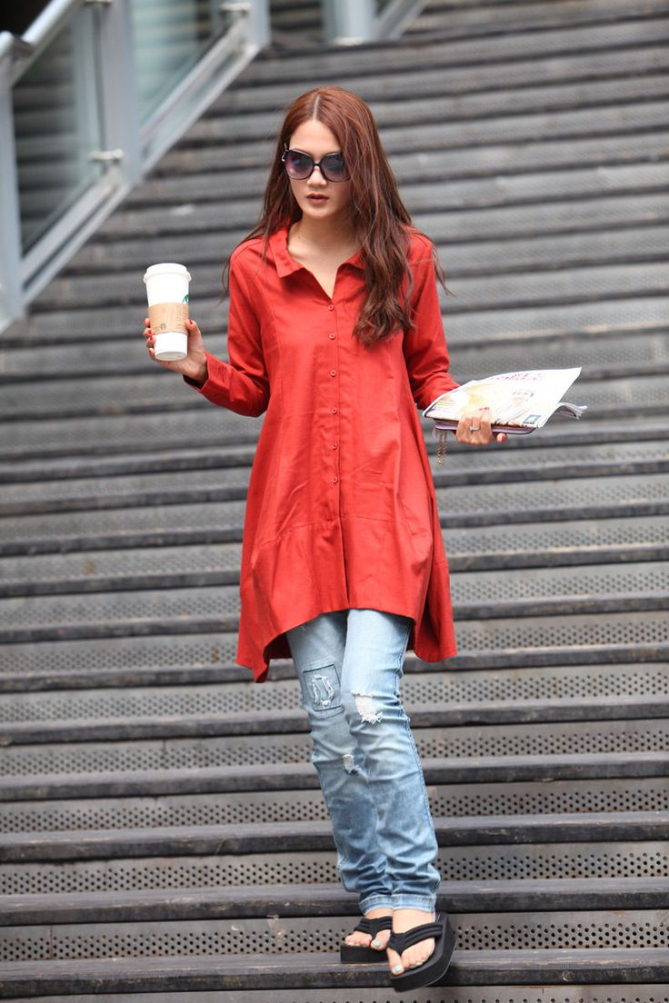 Spring Dress Long Sleeve Dress Shirt Loose Fitting Blouse Long Shirt Dress in red - NC325. $74.99, via Etsy.