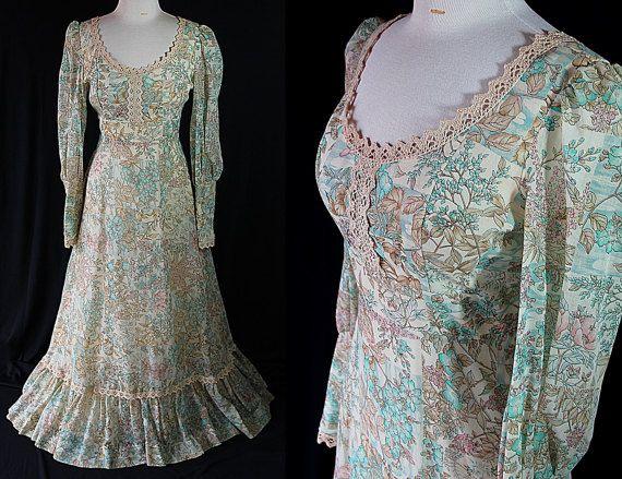 des années 70 hippie Bohème Maxi robe de gaze en par PetticoatsPlus