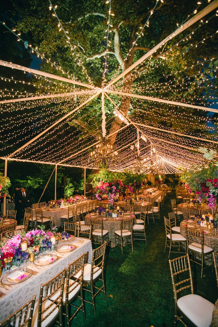 Twinkle Light Tent for Vibrant Reception | Photography: Mi Belle Photographers. Read More: http://www.insideweddings.com/weddings/colorful-outdoor-wedding-with-supper-club-theme-in-los-angeles-ca/741/