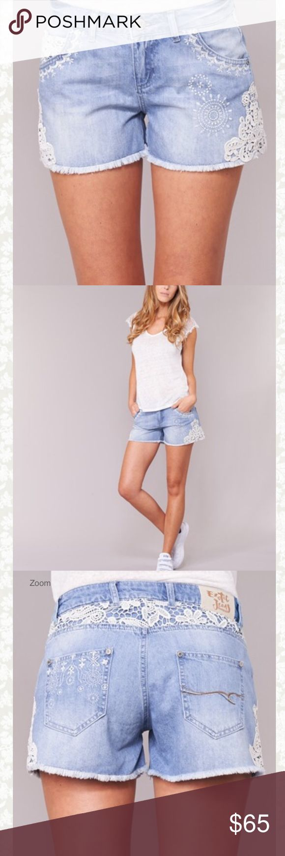 Desigual denim light wash shorts with lace detail you'll love the stylish design of these shorts from desigual. we really love the design made of cotton (100%) as well as the blue colour. they are ideal for a comfortable season! Desigual Shorts Jean Shorts