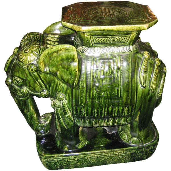 Asian Green Elephant Ceramic Garden Seat/Side Table ❤ Liked On Polyvore  Featuring Home,