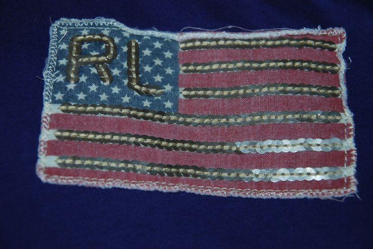 BASED UK RALPH LAUREN POLO JEANS WOMENS T SHIRT TOP USA FLAG SHORT SLEEVE M Blue