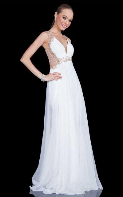 A-line V-neck,Shoulder Straps Natural Sleeveless Floor-length Prom Dresses