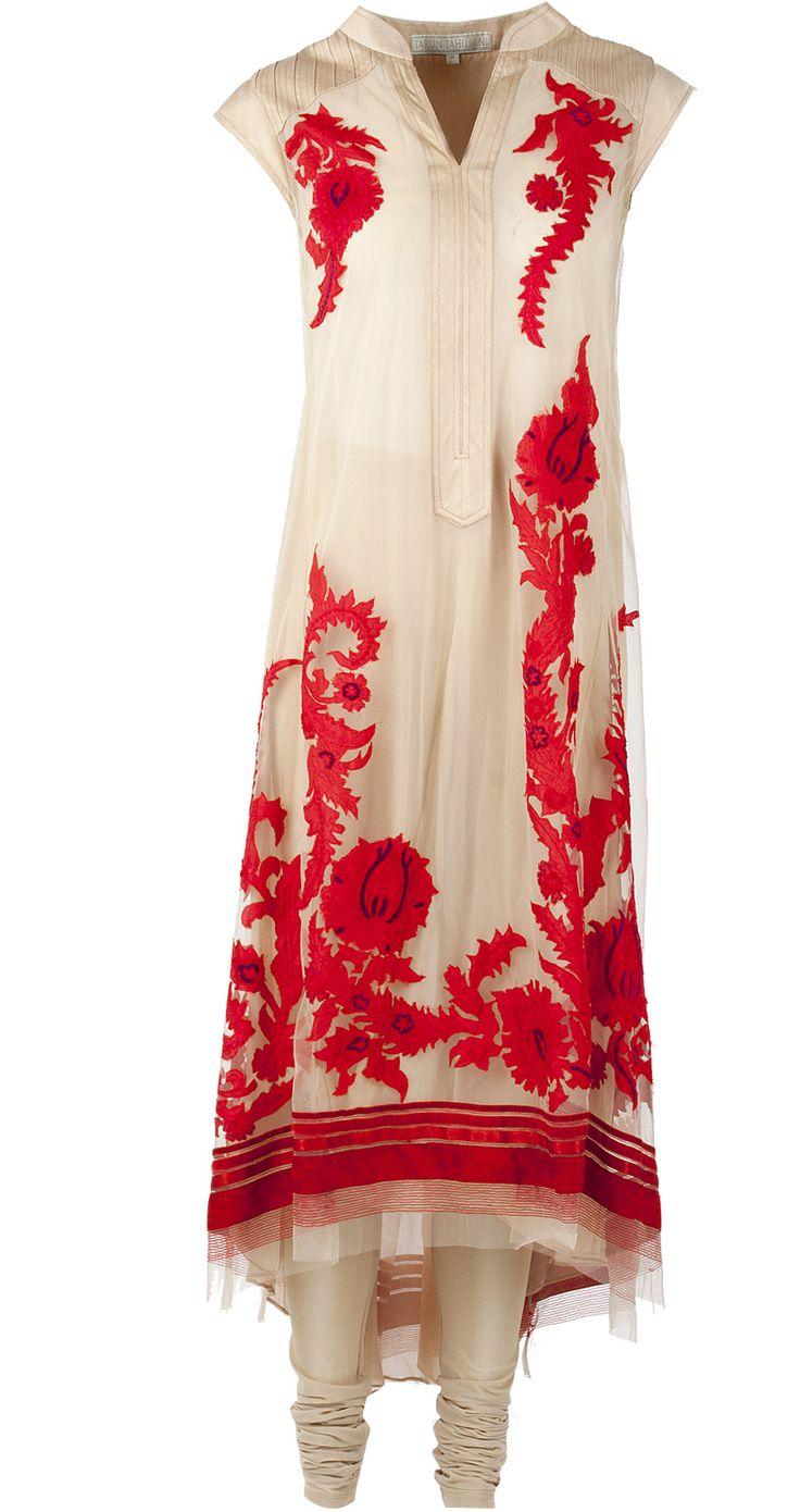 Red and beige asymmetric kurta with applique work by TARUN TAHILIANI. http://www.perniaspopupshop.com/designers-1/tarun-tahiliani