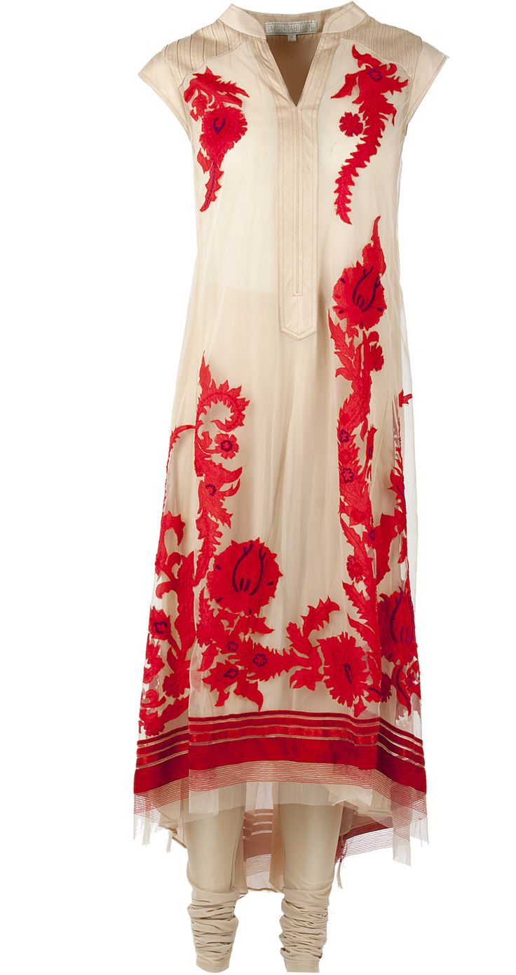 Red and beige asymmetric kurta with applique work available only at Pernia's Pop Up Shop.