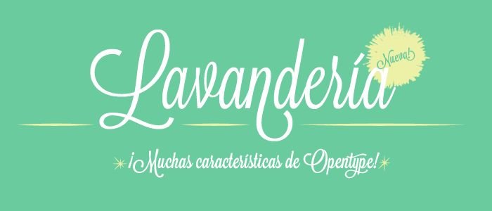 LAVANDERIA  A SCRIPT FONT IN THREE WEIGHTS.  Based on lettering found on Laundromat windows of San Francisco's Mission District, Lavanderia features numerous opentype features and three weights.