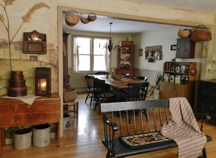Pin by katrina kriews on primitive dining rooms pinterest for Primitive dining room ideas