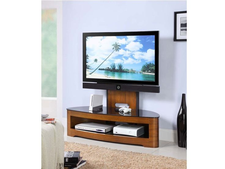 Jual Furnishings Walnut Cantilever TV Stand Upto With Cable Management