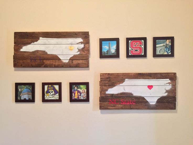College wall decor. NC State University and East Carolina University. Heart over city in North Carolina.