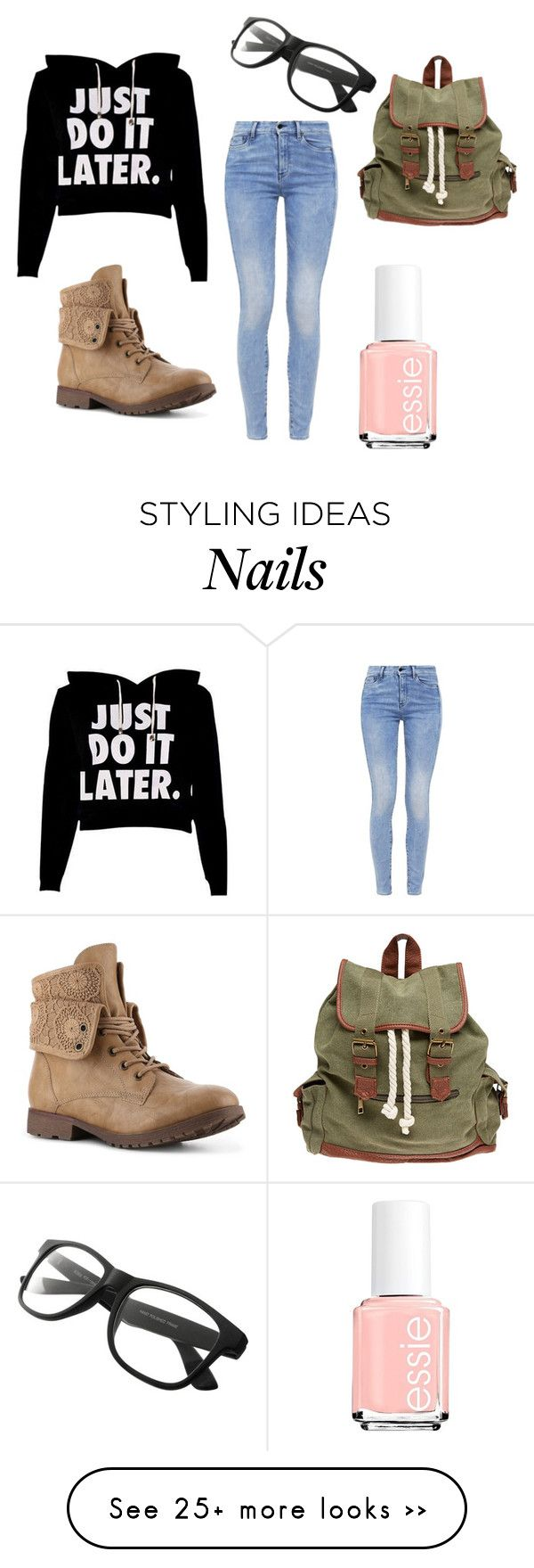 """Procrastinating"" by kittykitkat132 on Polyvore featuring G-Star, Essie and Wet Seal"