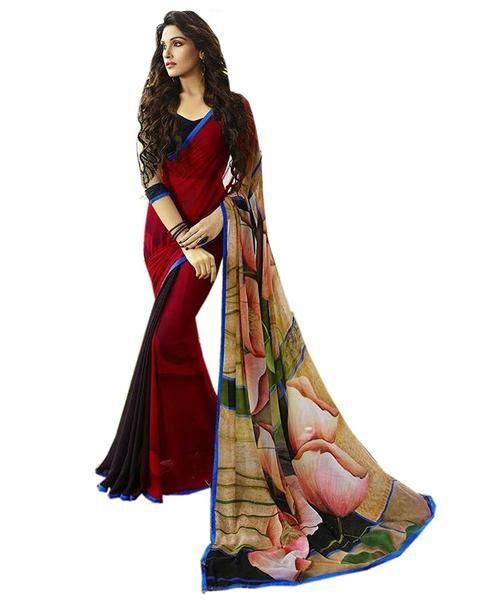 """Fancy Designer Store Self Design Red Georgette Printed Saree With Un-Stiched Blouse #deal #printedsarees  SEASON SALE ADDITIONAL UP TO 20% OFF. USE CODE: """"SALE20"""". SHOP NOW ladyindia.com"""