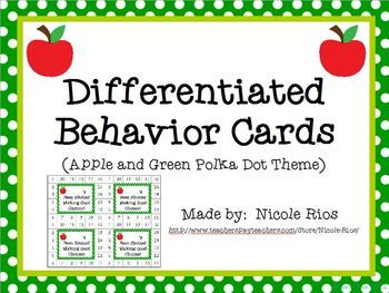 Differentiated Behavior Cards- Apples and Green Polka Dots Theme FREE!