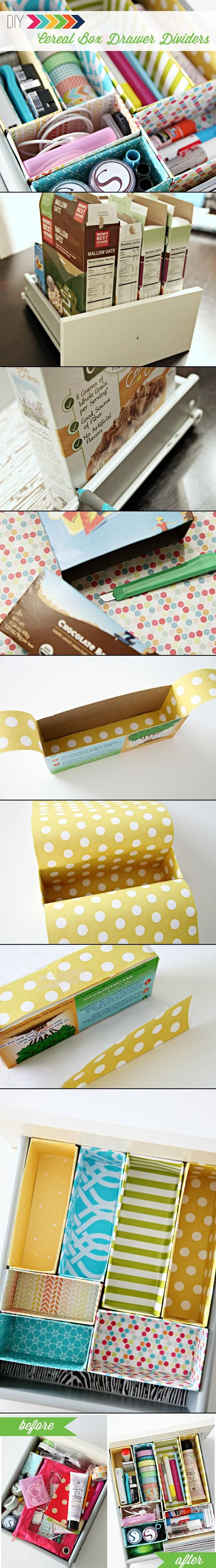 DIY Cereal Box Drawer Dividers, by I Heart Organizing. - I could use a little more organization for the Ikea Alex drawer unit I have. I don't eat cereal, but I could use other boxes.