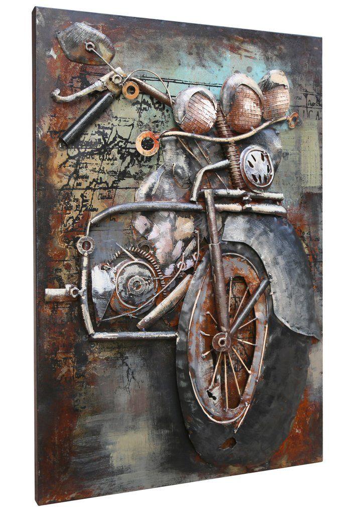 0e19e1b6d4c Vintage Metal Harley-Davidson motorcycle 3D Metal Wall Art wall decor  living room - ASH Wall Decor - Wall Art Canvas Panel Print Painting