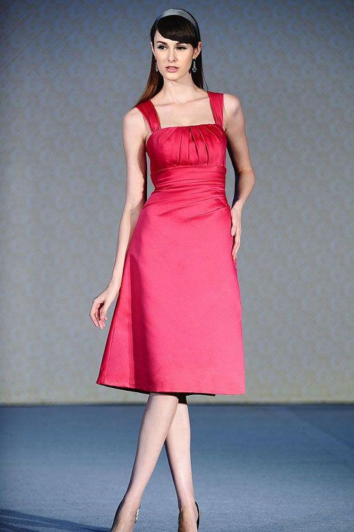 Straps satin bridesmaid dress with dropped waist--if it was white, it would make a pretty summer wedding dress too.