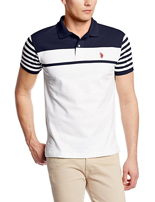 U.S. Polo Assn. Men's Slim Fit Chest Stripe Polo with Small Pony, Classic Navy, Large