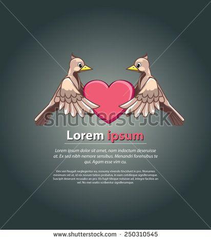 bird in love - stock vector