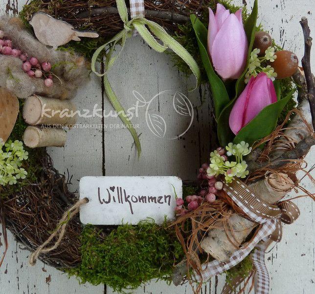NATUR ♥Willkommen Frühling♥ Türkranz LANDHAUS  von ♥♥ kranzkunst ♥♥ auf DaWanda.com